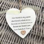Shabby personalised Gift Chic Heart Plaque Special Auntie Aunty Great Aunt Gift - 233008380910